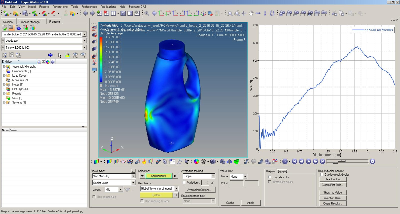 プラスチックボトルの構造解析ソフトウェア-内液を考慮した軸圧縮解析結果表示例