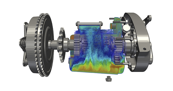 Oil distribution in a 5-speed gearbox operating at 1000 RPM.