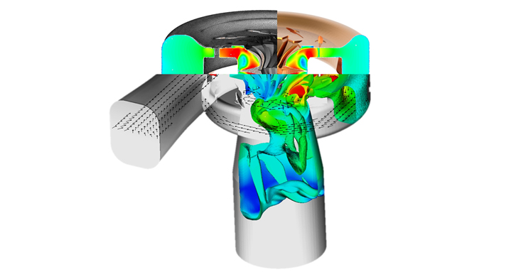 Different flow quantities representing the condition in a turbo charger efficiently simulated using MRF techniques.