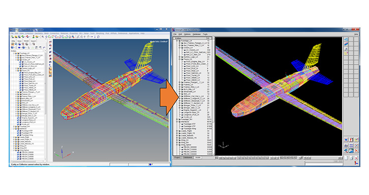 A Nastran .bdf file comprising the HyperMesh model assembly structure can be imported in S2K.