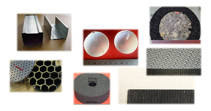Studs, heterogeneous materials, resonators, woven, perforated porous for your applications.