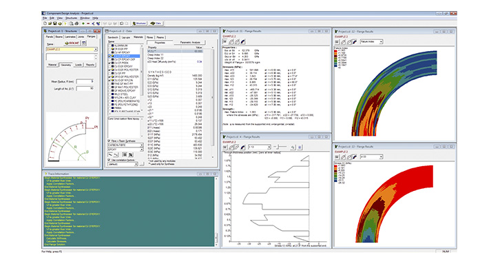 CoDA Flanges Module: data definition, summary results, stress plots and failure index solid graphics