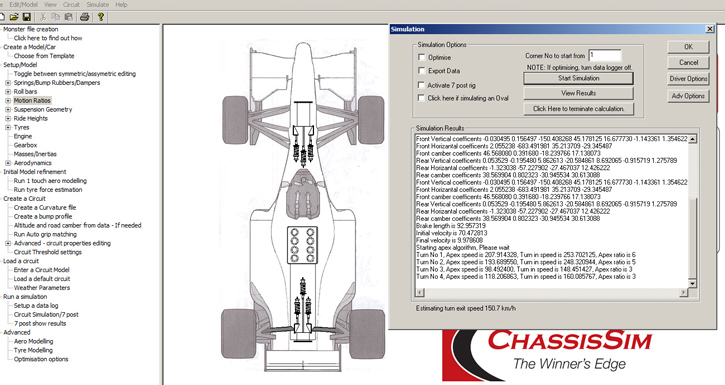 ChassisSim executing a laptime simulation