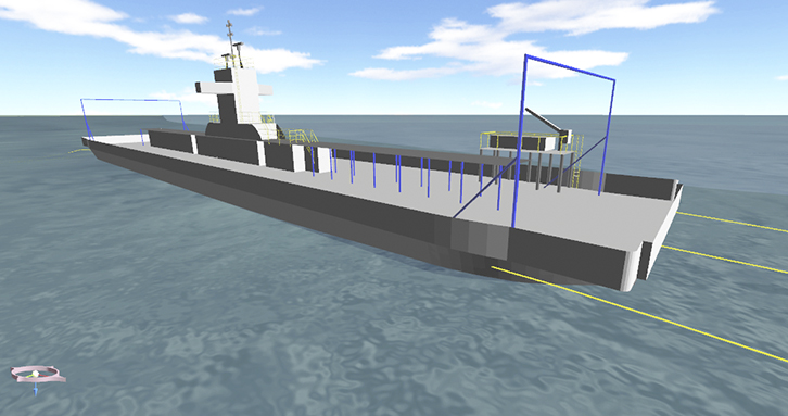ProteusDS simulation of a barge.