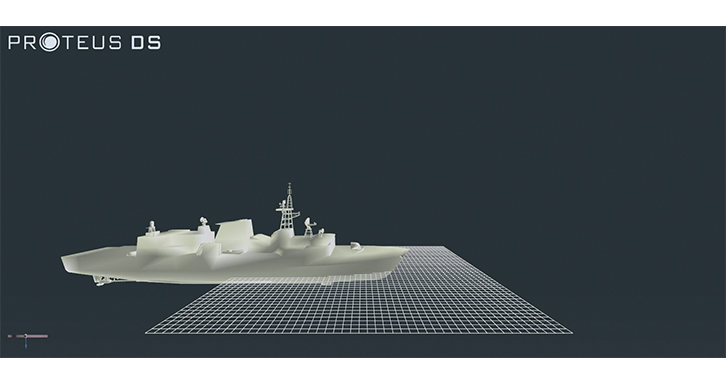 ProteusDS simulation of a naval combat vessel in engineering view.
