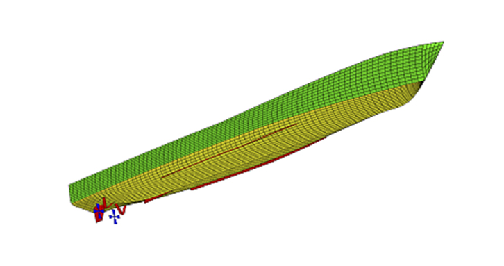 A ShipMo3D visualization of a boat hull.