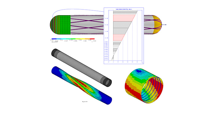 For the analysis of cylindrical structures, ESAComp can be used with a winding simulation tool.