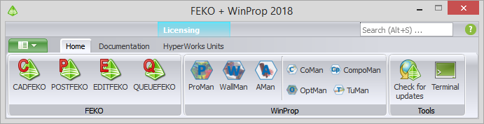 FEKO + WinPropランチャーユーティリティー