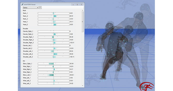 Santos Pro includes motion capture capabilities which uniquely convert motion capture data into human-relevant joint motion instead of Euler angles.