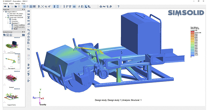 SimSolid analysis of quad tee cleaning machine with over 200 parts