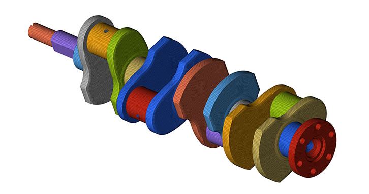 Modeling of a crankshaft with solid elements