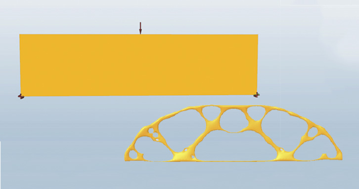 Beam optimization example with solidThinking Inspire.