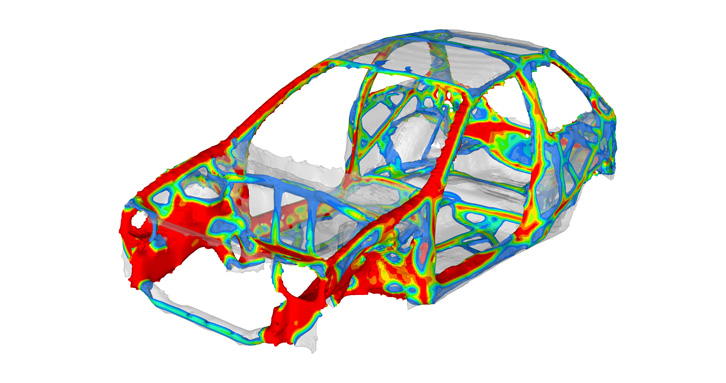 Car frame design with topology optimization (OptiStruct)