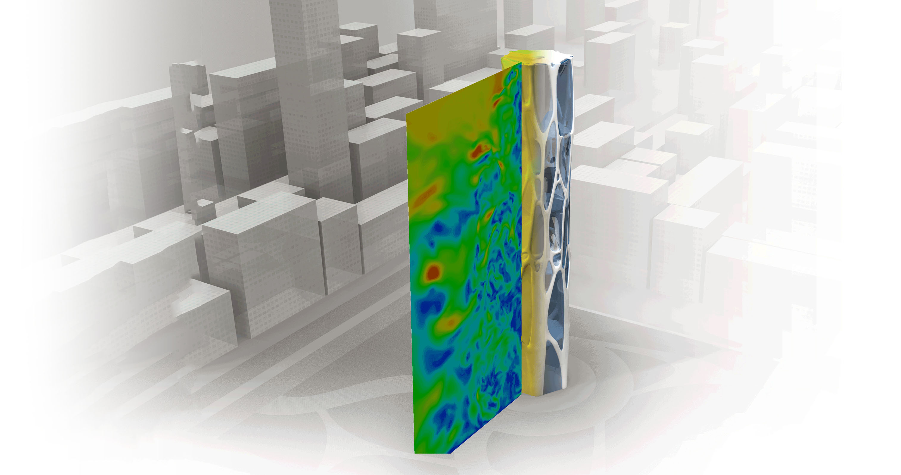 Simulation of aerodynamics of an architectural tower