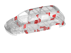 Using Topology Optimization to determine optimal locations and designs of Terocore® structural foam automotive body reinforcements to improve vehicle NVH characteristics