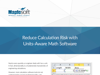 White Paper: Reduce Calculation Risk with Units-Aware Math Software