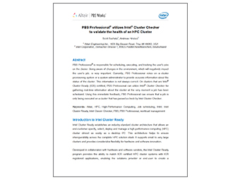 PBS Professional Utilizes Intel Cluster Checker to Validate the Health of an HPC Cluster