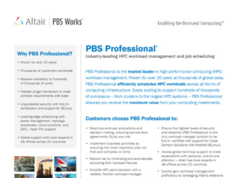 PBS Professional Data Sheet: The Trusted Leader in HPC Workload Management and Job Scheduling