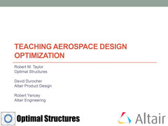 Teaching Aerospace Design Optimization