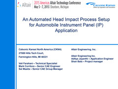 An Automated Head Impact Process Setup for Automobile Instrument Panel (IP) Application