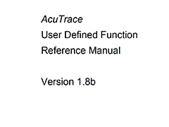 AcuTrace User Defined Function Manual