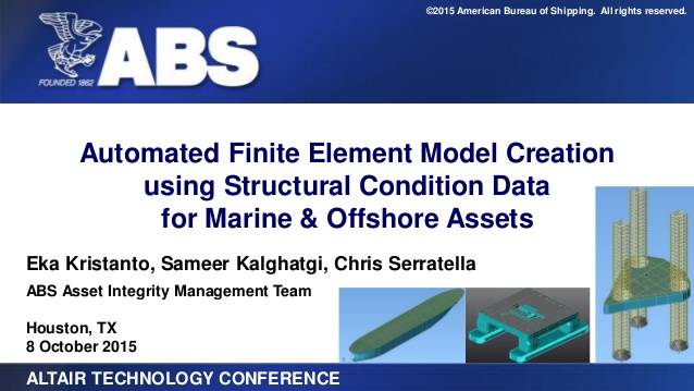 Automated Finite Element Model Creation using Structural Condition Data for Marine & Offshore Assets