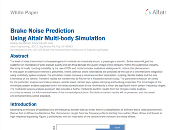 Brake Noise Prediction Using Altair Multi-body Simulation