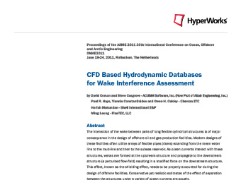 CFD Based Hydrodynamic Databases for Wake Interference Assessment