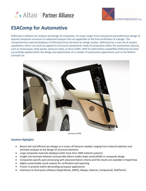 ESAComp for Automotive Use Case
