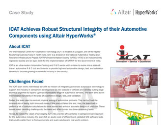 ICAT Achieves Robust Structural Integrity of their Automotive Components using Altair HyperWorks®