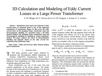 3D Calculation and Modeling of Eddy Current Losses in a Large Power Transformer