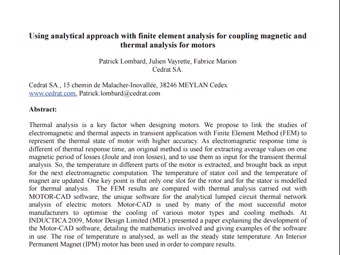 Using Analytical Approach with Finite Element Analysis for Coupling Magnetic and Thermal Analysis for Motors