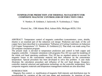 Temperature Prediction And Thermal Management For Composite Magnetic Controllers Of Induction Coils