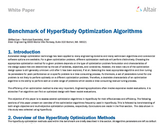 Benchmark of HyperStudy Optimization Algorithms