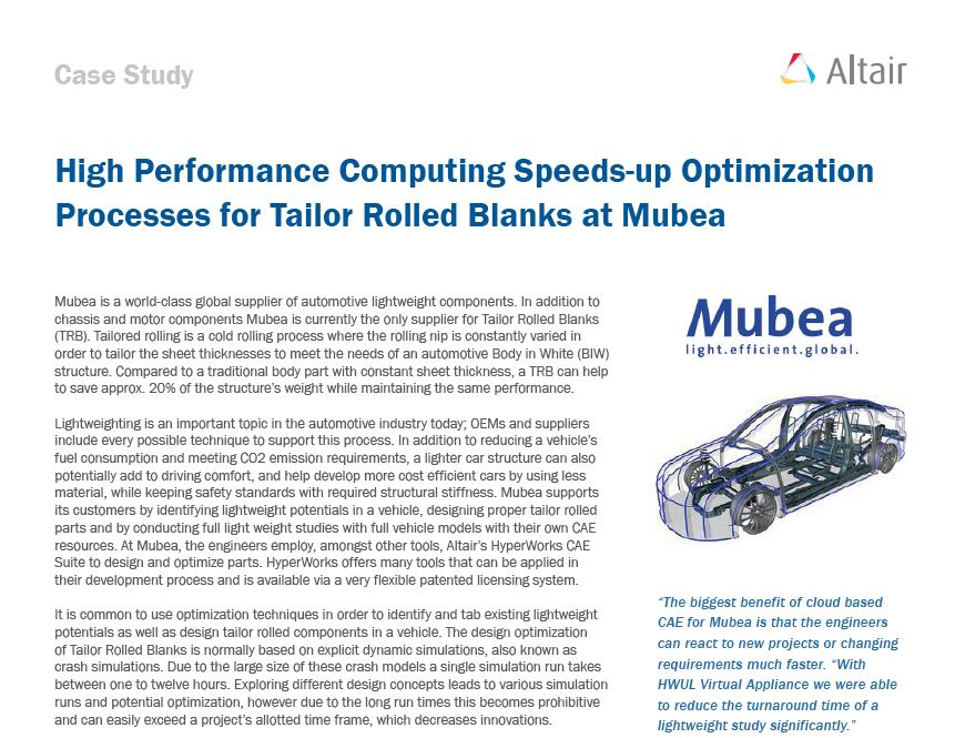 High Performance Computing Speeds-up Optimization Processes for Tailor Rolled Blanks at Mubea