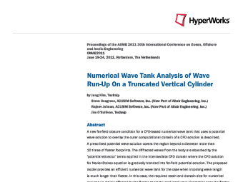 Numerical Wave Tank Analysis of Wave Run-Up On a Truncated Vertical Cylinder