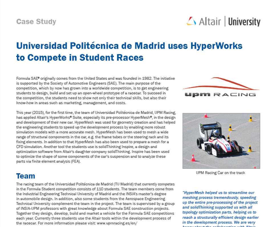 Universidad Politécnica de Madrid uses HyperWorks to compete in Student