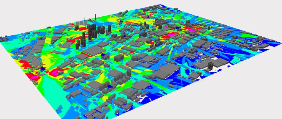 Network Planning in Urban Scenario Simulation of Signal Coverage