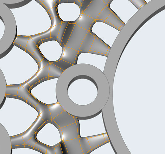 Close up of part in solidThinking software