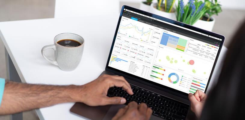 Data analysis information displayed on laptop screen