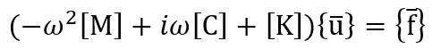 周波数応答解析(-ω2[M]+iω[C]+[K]){u}={f}