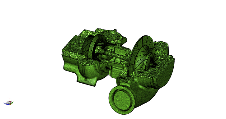 Polyhedral grid with embedded block-structured turbine and compressor wheels all connected in a conform manner.