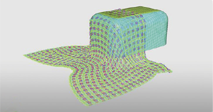 Example of a lay-up simulation on a cube shape with a taffetas pattern woven fabric.