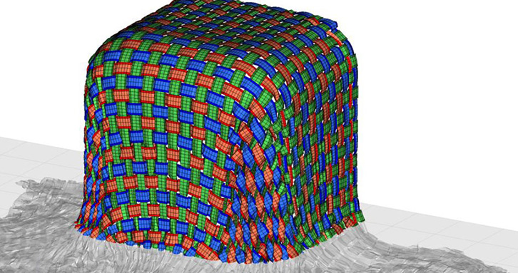 Example of a lay-up simulation on a square shape with a taffetas pattern woven fabric.