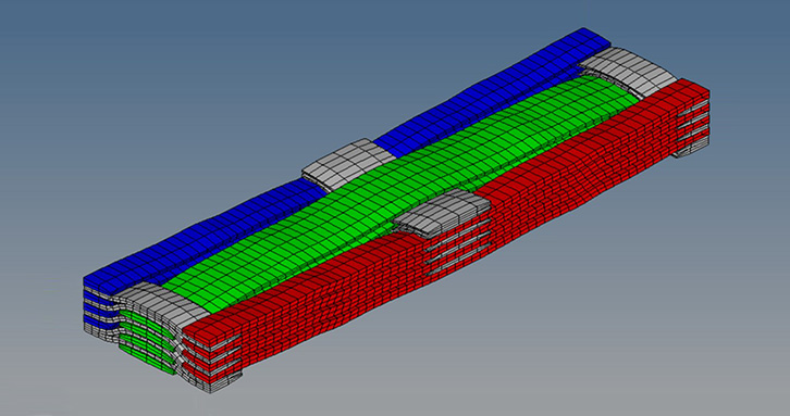 Here is a view of the KTex Pattern output for a given 3D weaving pattern.