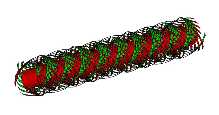 View of an output given by KTex Winding for a given winding pattern.