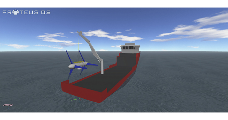 ProteusDS simulation of a work boat lowering a tidal turbine with an articulated crane.