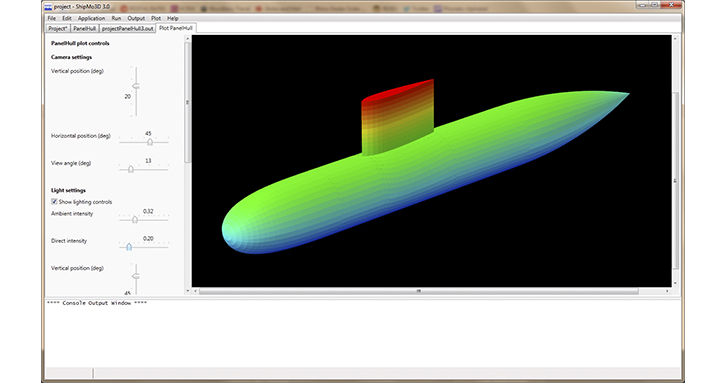A screenshot of ShipMo3D with a visualization of a submarine.
