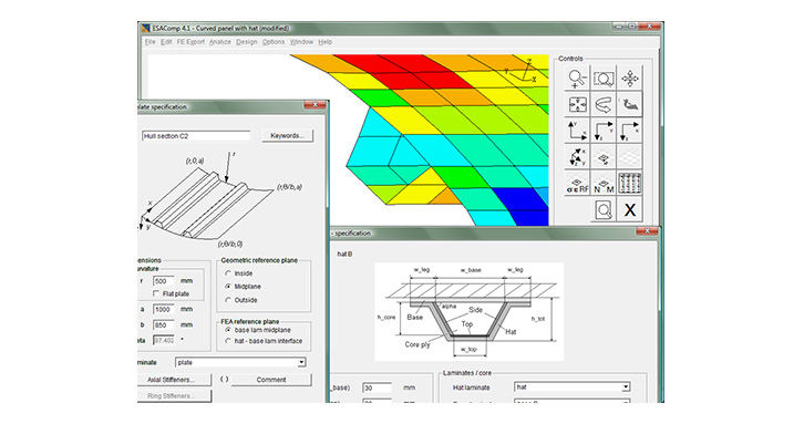 ESAComp allows quick modeling of stiffened composite panels for preliminary dimensioning.