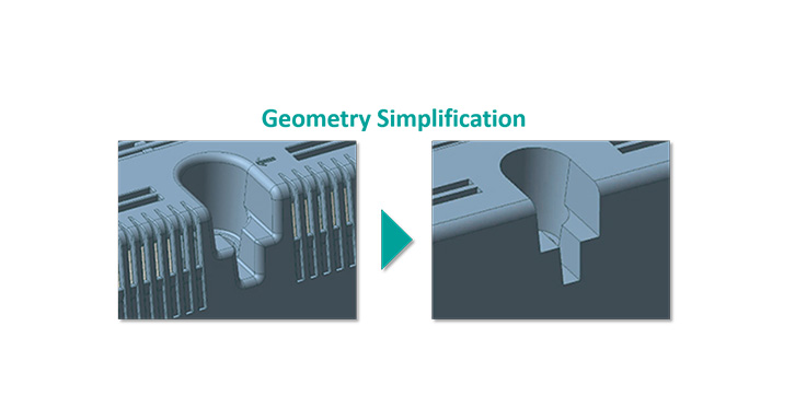 Geometry Simplification reduces the data size by removing features like fillets, chamfers and holes.